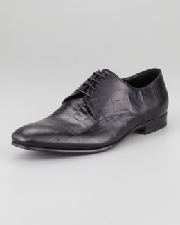 Giorgio Armani Crocodile-Embossed Oxford, Black