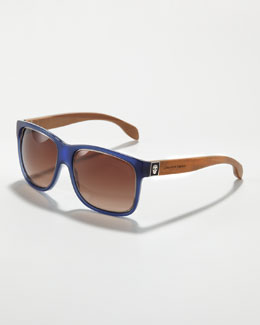 Alexander McQueen Wooden-Arm Square Sunglasses, Blue