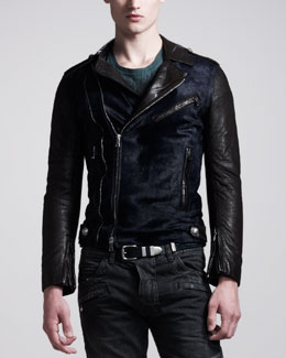 Balmain Calf-Hair Biker Jacket