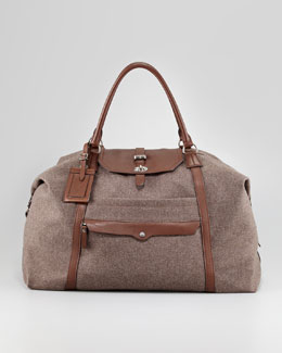 Brunello Cucinelli Leather and Flannel Overnight Bag