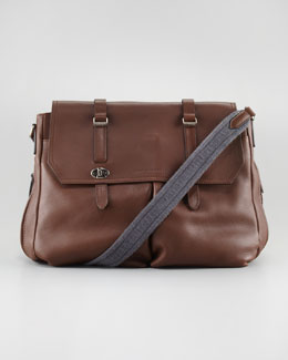Brunello Cucinelli Contrast-Strap Leather Messenger Bag