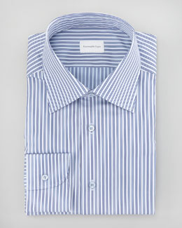 Ermenegildo Zegna Striped Dress Shirt, Blue