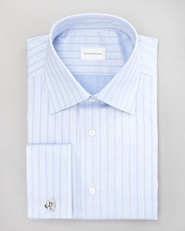 Ermenegildo Zegna Tonal-Stripe Dress Shirt, Light Blue
