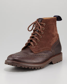 Brunello Cucinelli Leather-Suede Brogue Boot