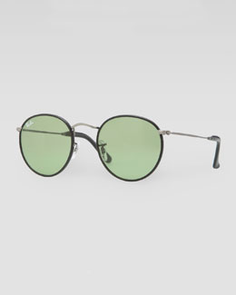 Ray-Ban Icon Leather-Frame Sunglasses, Black