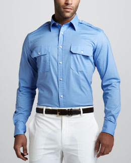 Ralph Lauren Black Label Two-Pocket Military Shirt, Tyler Blue