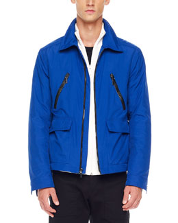 Michael Kors  Leather-Trim Zip Jacket