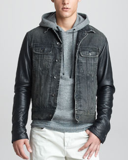 Rag & Bone Leather-Sleeve Denim Jacket