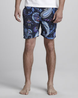 Etro Paisley Swim Trunks, Blue