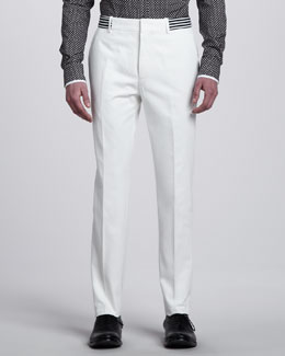 Alexander McQueen Slim Pants with Striped Waistband, White