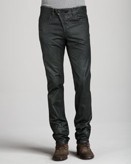 Alexander McQueen Coated Dark Green Jeans