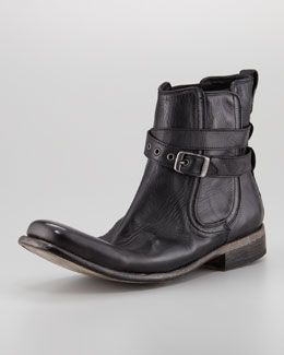 John Varvatos Bowery Buckled Chelsea Boot, Black