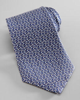 Salvatore Ferragamo Anchor-Print Silk Tie, Navy