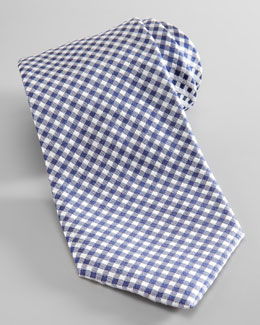 Salvatore Ferragamo Dot-Back Gingham Silk Tie, Blue/White