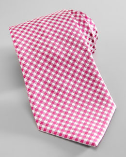 Salvatore Ferragamo Dot-Back Gingham Silk Tie, Pink/White