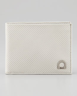 Salvatore Ferragamo Melrose Perforated Bi-Fold Wallet, Ivory