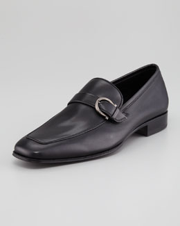 Salvatore Ferragamo Tincino Buckled-Bit Loafer, Black