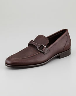 Salvatore Ferragamo Twist Braid Bit Loafer, Brown