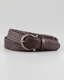 Salvatore Ferragamo Braided Woven Leather Belt