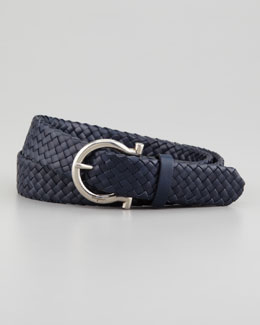Salvatore Ferragamo Braided Woven Leather Belt, Blue