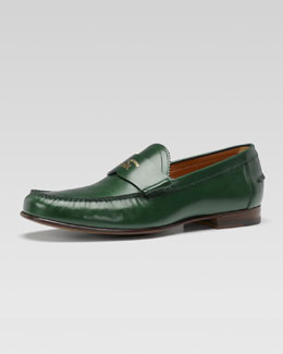 Gucci Uden Leather College Moccasin, Green