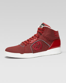 Gucci Rebound Mid High-Top Sneaker, Red
