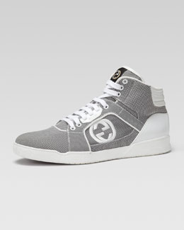 Gucci Rebound Mid High-Top Sneaker, Gray/White