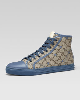 Gucci California GG PU Stars Fabric High-Top Sneaker