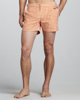 Orlebar Brown Wicker-Print Swim Shorts, Orange