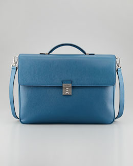 Salvatore Ferragamo Revival Two-Gusset Briefcase, Blue