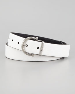 Salvatore Ferragamo Reversible Gancini Belt, Black/White