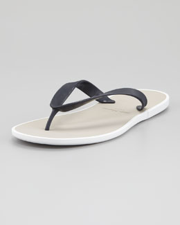 Salvatore Ferragamo Gym Rubber Thong Sandal, Blue