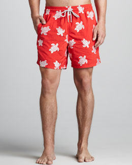 Vilebrequin VIP Line Embroidered Swim Trunks, Red