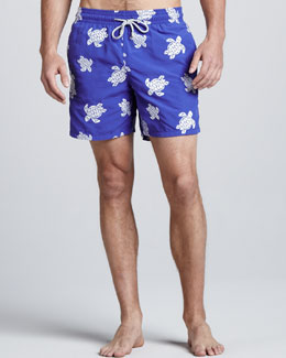 Vilebrequin VIP Line Embroidered Swim Trunks, Royal