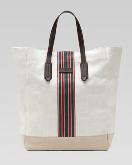 Gucci Hempy Canvas Top-Handle Tote, White