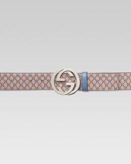 Gucci GG PU Stars Belt with G Buckle