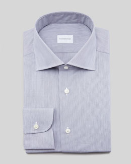 Ermenegildo Zegna Mini-Stripe Dress Shirt, Navy