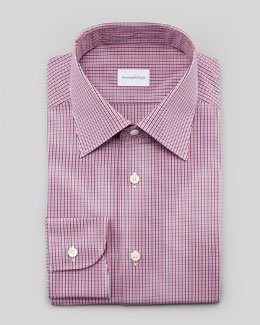 Ermenegildo Zegna Check Dress Shirt, Blue/Pink