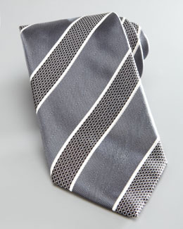 Brioni Bold Striped Silk Tie, Gray