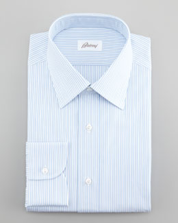 Brioni Thin Stripe Dress Shirt, Blue/White