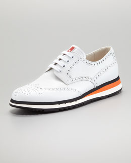 Prada Sneaker-Sole Wing-Tip, White