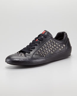 Prada Studded Low-Top Sneaker, Black