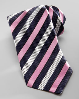 Ermenegildo Zegna Striped Silk Tie, Navy/Pink