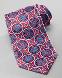 Ermenegildo Zegna Medallion Silk Tie, Red/Blue