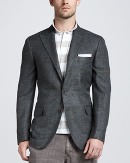 Brunello Cucinelli Glen Plaid Linen-Blend Blazer