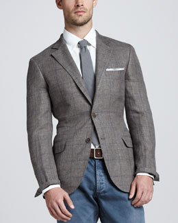Brunello Cucinelli Windowpane Linen-Blend Blazer