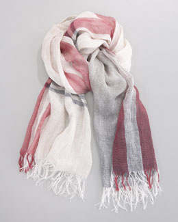 Brunello Cucinelli Check Linen Scarf, Ecru/Gray/Cherry