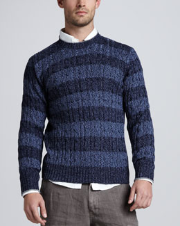 Brunello Cucinelli Rugby-Stripe Cable Sweater, Indigo/Navy