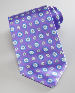 Brioni Medallion-Print Silk, Purple