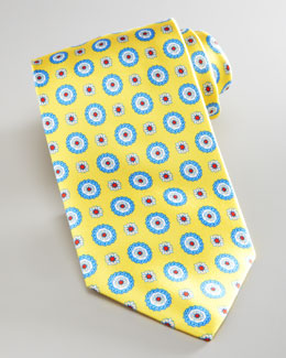Brioni  Medallion-Print Silk Tie, Yellow